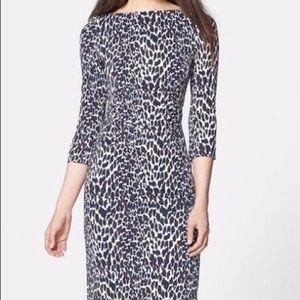 Tory Burch Blue Cheetah fitted Career Dress $375 L